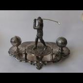 Encrier porte plume golf Art nouveau métal argenté