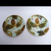 Assiette barbotine Art Nouveau (x2)