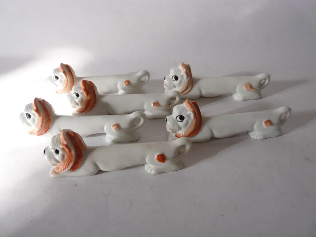 Porte couteaux porcelaine 6 lion art de la table animaux ebay - Porte couteaux pour table ...