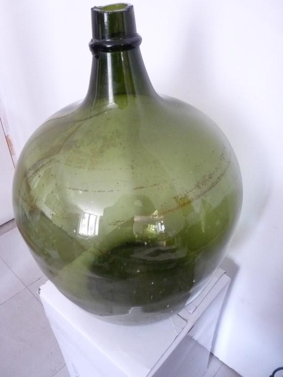 Ancienne bouteille g ante verre souffl e art populaire vin vigne 25530 - Diametre bouteille de vin ...
