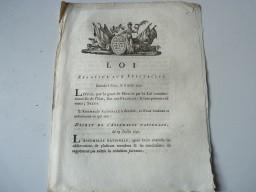 Loi Relative aux Spectacles XVIIIe siècle
