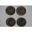 Monnaies argent 5 reichsmark Paul von Hindenburg 1934/36 Allemagne (x4)