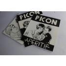 Trois dessins originaux a l'encre projets pub PICON Suisse