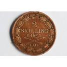 Piece de 2 skilling banco 1835 Sweden