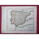 Gravure Carte Espagne Portugal époque 1820
