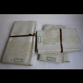 Nappe + 12 serviettes mi - fil en damassé or 140/280