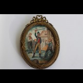 """Peinture miniature Révolution Française Jacobins """"punition"""""""