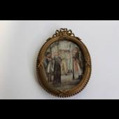 Peinture miniature Révolution Française pendaison a la lanterne