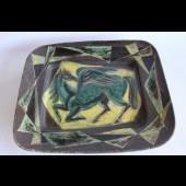 """Ancien plat céramique vernissée - marque inconnu """" Pegase """""""