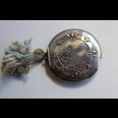 Boite a poudre argent émail guilloché Art nouveau rose