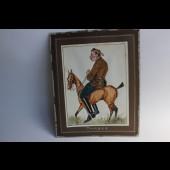 "Aquarelle humoristique équitation chevaux 1935 ""Tarbes"""