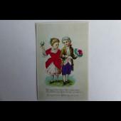 Chromo enfants en costume de soie 1890