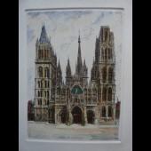 Ancienne Gravure Eau Forte Robin Rouen Cathédrale