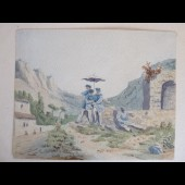 Peinture Aquarelle Ancienne Sud de la France