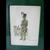 Dessin original aquarelle Soldat Guerre Suisse