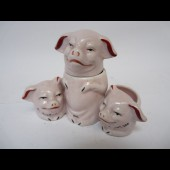 Moutardier Salière Porcelaine Cochon