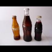 Trois mini bouteilles Coca Cola publicitaire